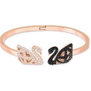 Swarovski Gold-Tone Pavé Swan Hinged Cuff Bracelet